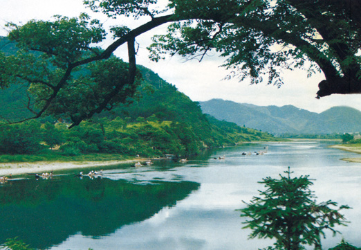 两岸山水相连,山峦叠翠,是天目溪风景最秀丽的一段.