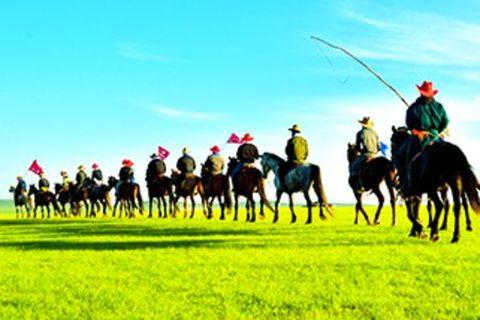 呼伦贝尔大草原-牧民夏营地骑马3日游>海拉尔参团,草原深处骑马